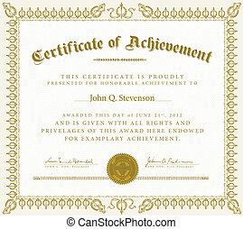 ouderwetse , vector, certificaat, prestatie