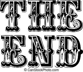 ouderwetse , vector, einde, lettering