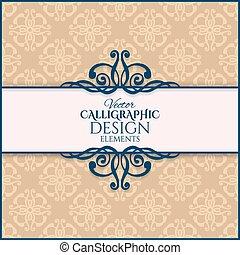 ouderwetse , vector, frame., illustratie, calligraphic