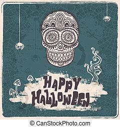 ouderwetse , vector, halloween, schedel, illustratie