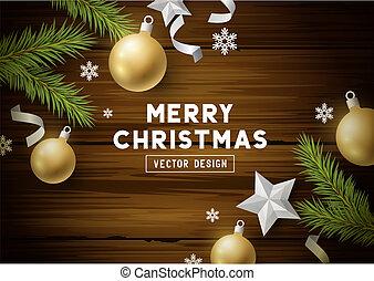 ouderwetse , vector, hout, achtergrond, kerstmis