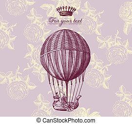 ouderwetse , vector, kaart, baloon