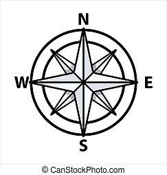 ouderwetse , vector, -, kompas