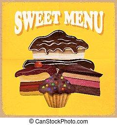ouderwetse , vector, menu., kaart, dessert