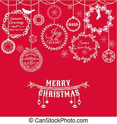 ouderwetse , -, vector, ontwerp, plakboek, kerstmis kaart