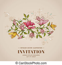 ouderwetse , -, vector, plek, tekst, floral, jouw, kaart