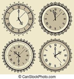 ouderwetse , vector, set, klok