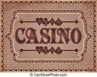 ouderwetse , vector, spandoek, casino