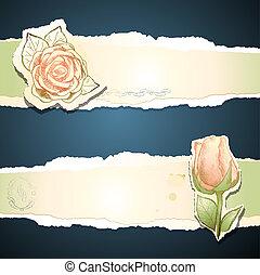 ouderwetse , vector, spandoek, roos