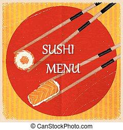 ouderwetse , vector, sushi, menu., retro