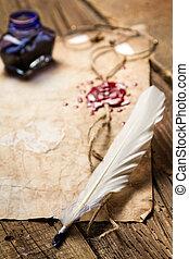 ouderwetse , veer, closeup, het liggen, brief
