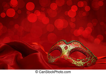 ouderwetse , venetiaan, kermis masker, op, rode achtergrond