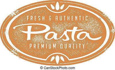 ouderwetse , verse pasta, postzegel