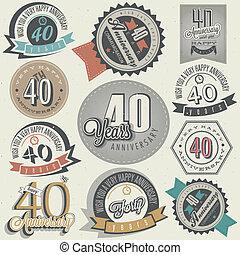 ouderwetse , verzameling, jubileum, 40