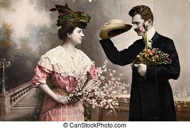 ouderwetse , victoriaans, courting., nemen een blik, op,...
