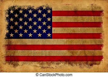 ouderwetse , vlag, usa