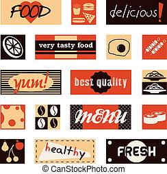 ouderwetse , voedingsmiddelen, afbeeldingen, en, titels
