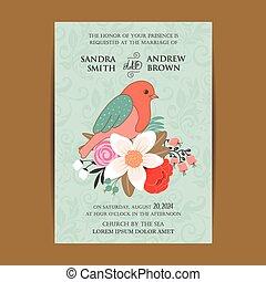 ouderwetse , vogel, kaart, uitnodiging