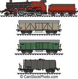 ouderwetse , vracht, stoom trein