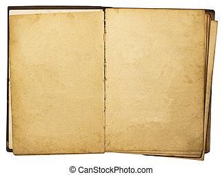ouderwetse , vrijstaand, boek, achtergrond, witte , open
