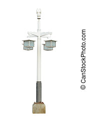 ouderwetse , vrijstaand, lamp, pool, straat, lamppost, licht, post, straat