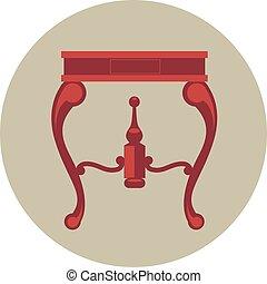 ouderwetse , vrijstaand, vector, digitale , tafel, rood