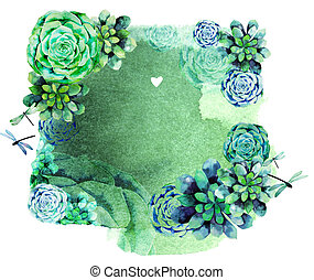 ouderwetse , watercolor, ontwerp, met, succulents