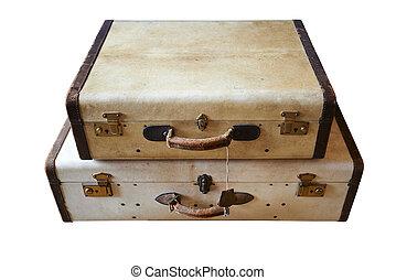 ouderwetse , well-traveled, koffer