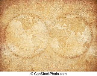 ouderwetse , wereld, oud, achtergrond, kaart