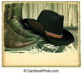 ouderwetse , westelijk, achtergrond, met, cowboy hoed, op, oud, papier, voor, tekst