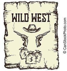 ouderwetse , westelijk, poster