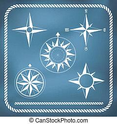 ouderwetse , windrose, oud, kompas