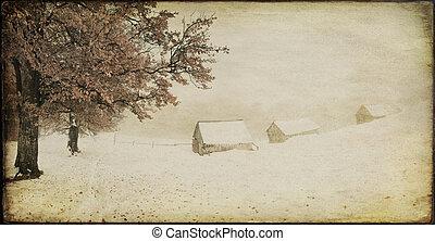 ouderwetse , winterlandschap, van, de, oud, boerderij