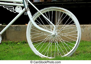 ouderwetse , witte , fiets