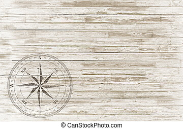 ouderwetse , witte , hout, achtergrond, kompas