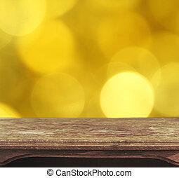 ouderwetse , wooden table, met, gele, bokeh, achtergrond