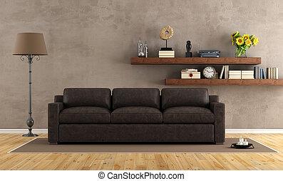 ouderwetse , woonkamer, met, lederene sofa