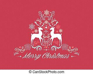 ouderwetse , zalige kerst, tekst, met, reindeers, ontwerp, eps10, file.