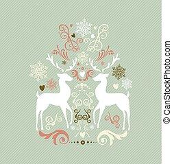 ouderwetse , zalige kerst, versiering, met, reindeers, eps10, file.