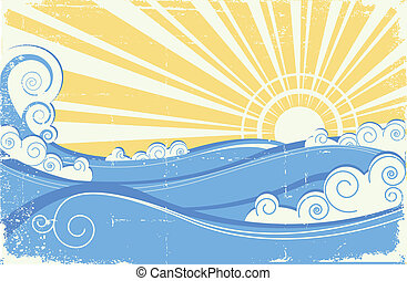 ouderwetse , zee, waves., vector, illustratie, van, zee, landscape, met, zon