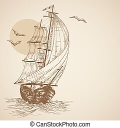 ouderwetse , zeilboot