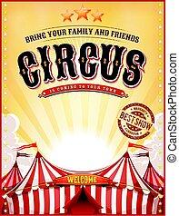 ouderwetse , zomer, circus, poster, met, groot bovenst