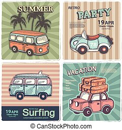ouderwetse , zomer, en, reizen, banieren