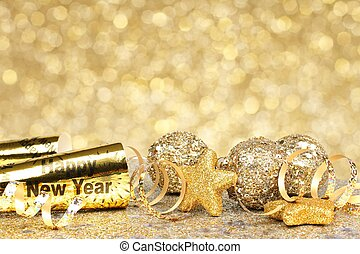 oudjaarsdag, gouden, feestje, backgrou