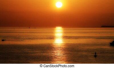 ouest, coucher soleil, clã©