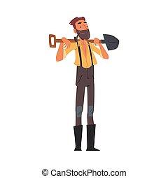ouest, dessin animé, caractère, prospecteur, vendange, or, sauvage, vêtements, porter, debout, mâle, pelle, style, barbu, vecteur, illustration, mineur