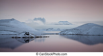 ouest, myvatn, nord, lac, islande