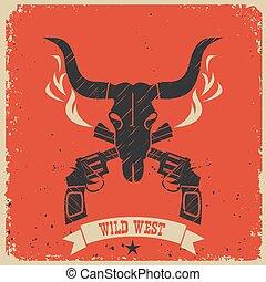 ouest, papier, occidental, fond, affiche, sauvage, rouges