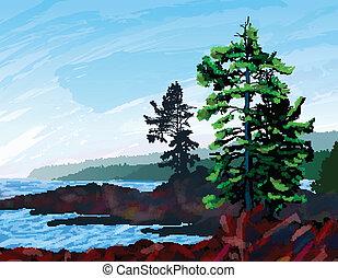 ouest, peinture, paysage, côte