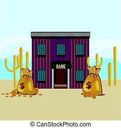 ouest sauvage, bâtiment, banque, gabarit